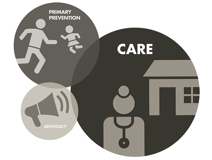 A graphic consisting of 3 grey bubbles. The biggest one says 'Care' and has a house and a doctor icon. The medium one says 'Primary Prevention' and has two people icons. The smallest one says 'Advocacy' and has a megaphone icon.