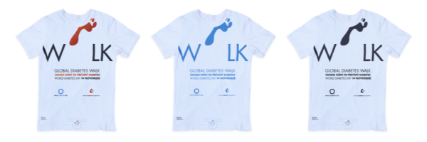 Three white T-shirts with blue, red and black versions of the Global Diabetes Walk logo.